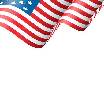 白い背景に分離されたアメリカの波状の国旗