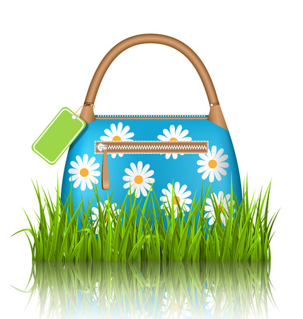 chamomiles: Blue woman spring bag with chamomiles flowers and sale label in grass lawn with reflection on white background