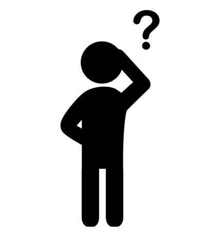 hesitant: Man with question mark flat icon pictogram isolated on white background