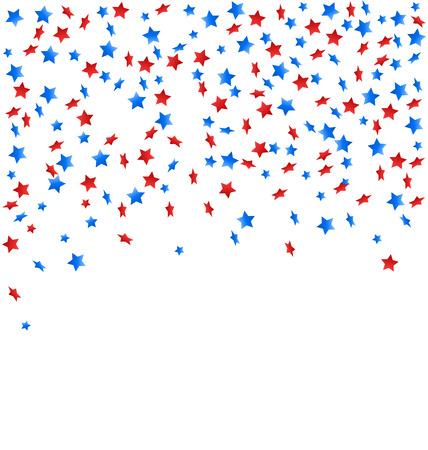 白い背景に分離された独立記念日のための国民色のアメリカの祭典紙吹雪星