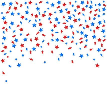 USA celebration confetti stars in national colors for independence day isolated on white background