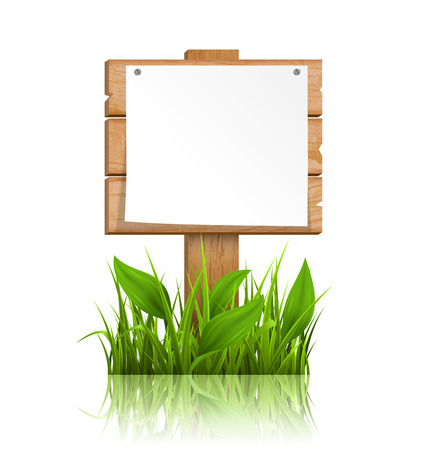 eco notice: Wooden signpost with grass paper and reflection on white background Illustration