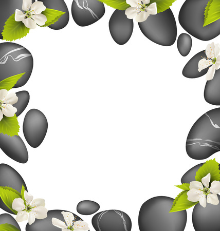 spring balance: Spa stones with cherry white flowers like frame isolated on white background