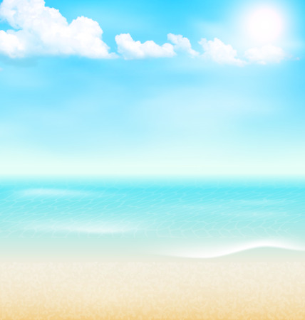 shore: Beach seaside sea shore clouds. Summer holiday vacation background Illustration