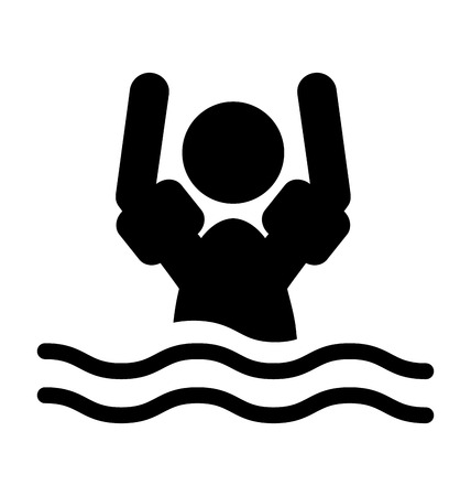 protectors: Swim water sleeve protectors information flat people pictogram icon isolated on white background