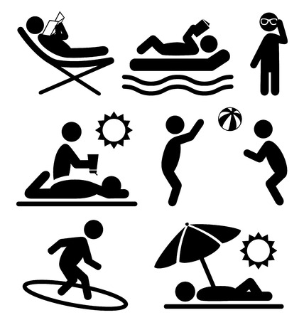 Summer pictograms flat people icons isolated on white background