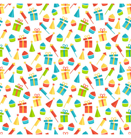 festive pattern: Seamless bright fun celebration festive pattern isolated on white background Stock Photo