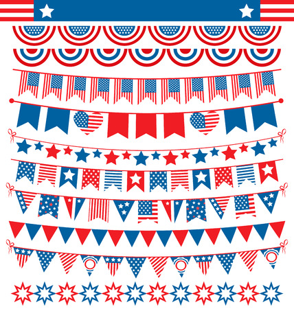 president of the usa: USA celebration buntings garlands flags flat national set for independence day isolated on white background