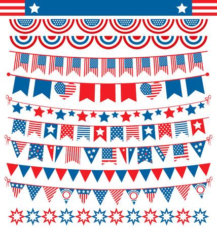 USA gorzen viering slingers vlaggen flat nationale set voor Independence Day op een witte achtergrond