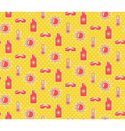 summer fun: Bright fun summer seamless pattern with sunscreen cream sun and glasses on yellow background