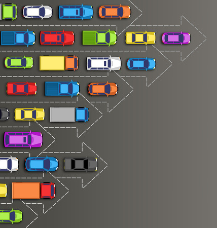 rules of road: Road background with multicolored cars isolated on gray background