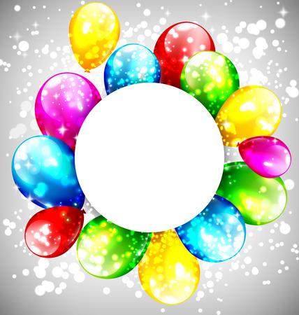 marco cumpleaños: Globos inflables multicolores con el marco del círculo en el fondo de escala de grises
