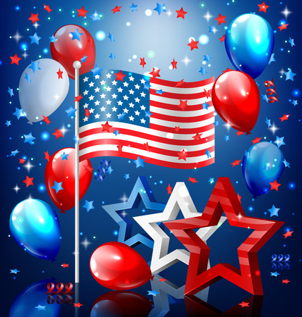 president day: Shiny USA celebration independence day concept with nation flag stars confetti and balloons on blue background Stock Photo
