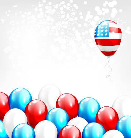 grayscale background: Balloons in national USA colors on grayscale background