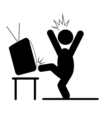 fury: Angry man kicking TV pictogram flat icon isolated on white background
