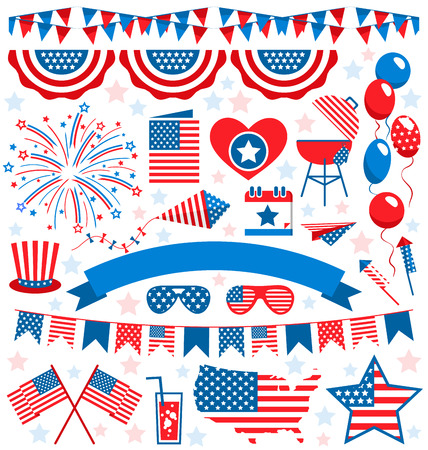 independencia: EE.UU. celebración símbolos nacionales planos establecidos para el día de la independencia aislado en fondo blanco Foto de archivo