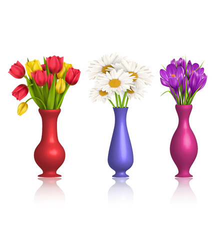 chamomiles: Tulips chamomiles and crocuses in vases with reflection on white background Stock Photo