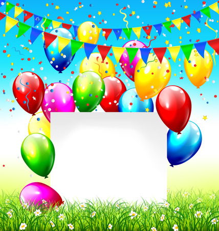 greet card: Celebration background with paper frame buntings balloons grass lawn and confetti on sky background
