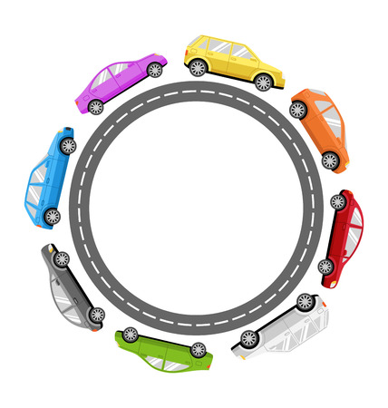 Circle Road Frame with Colorful Cars Isolated on White Background