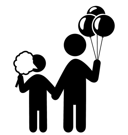 cotton candy: Entertainment Pictograms Flat Family Icon with Cotton candy and Balloons Isolated on White Background Illustration