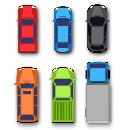 transport icons: Multicolored car collection isolated on white background