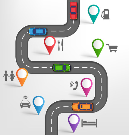 car navigation: Road Infographic Travel Background with Pins Pointers Stopovers Marks