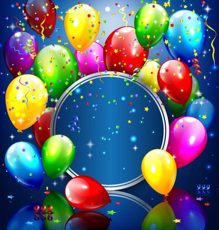 Multicolored inflatable balloons with circle frame and confetti on blue background