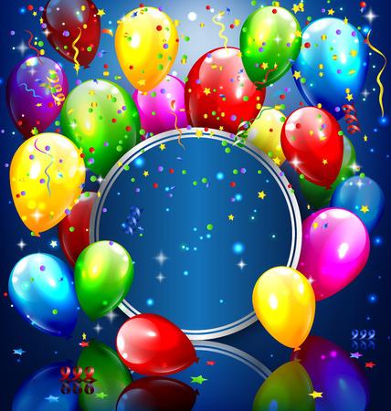 Veelkleurige opblaasbare ballonnen met cirkel frame en confetti op een blauwe achtergrond