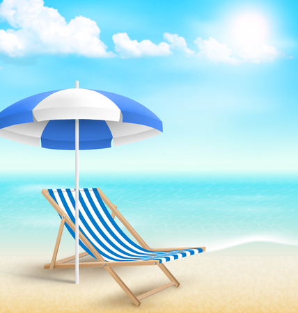 Beach with sun beach umbrella beach chair and clouds. Summer vacation background