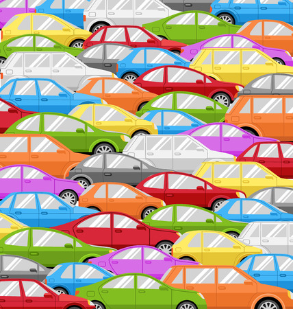 Traffic Jam With Cars. Problem Road Background