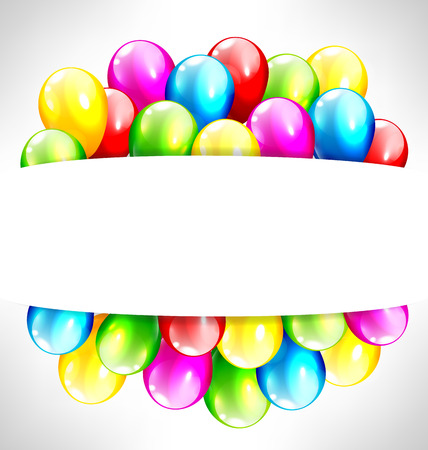 happy birthday text: Multicolored inflatable balloons with frame on grayscale background Illustration