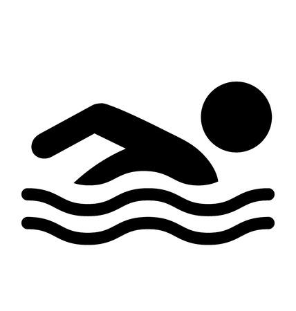 De zomer zwemt Water Informatie Flat Mensen Pictogram pictogram op een witte achtergrond Stock Illustratie