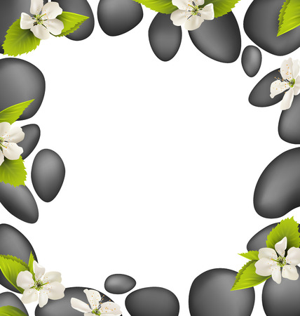 oriental medicine: Spa stones with cherry white flowers like frame isolated on white background