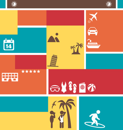 choose: Choose Your Best Summer Vacation. Tourist Vector Brochure Illustration