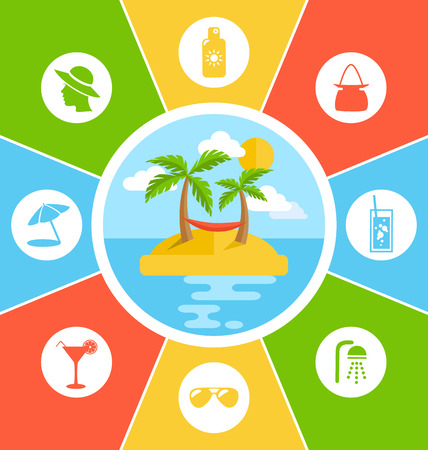 conduct: Rules of Conduct in Summer Vacation. Information Vector Brochure Illustration