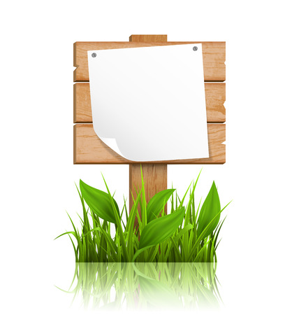 wooden board: Wooden signpost with grass deflected paper and reflection on white background