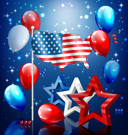 nation: Shiny USA celebration independence day concept with nation flag map stars and balloons on blue background Illustration