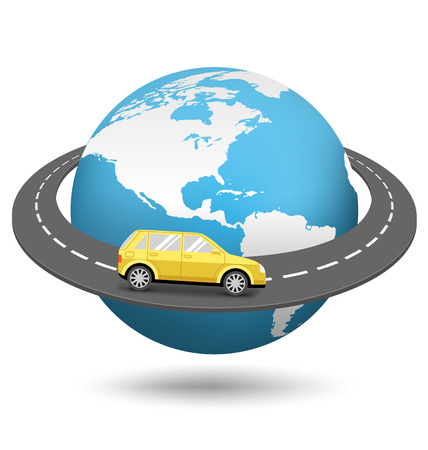 around the world: Globe with Road Around the World and Car Isolated on White Background
