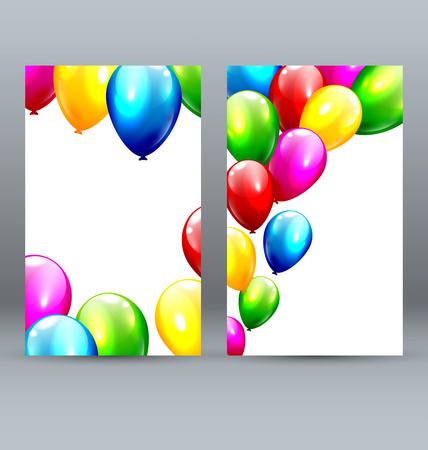 inflatable: Two Celebration Greet Cards with Inflatable Bright Balloons Illustration