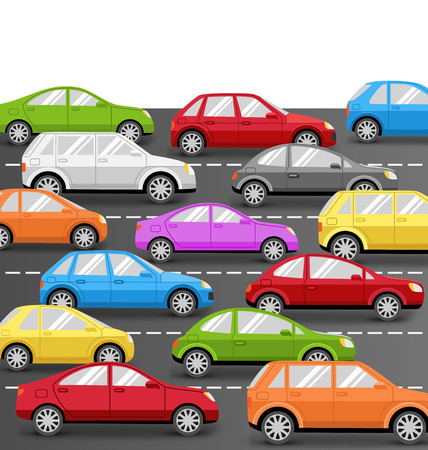 cars on road: Multicolored Cars on Road. Vector Transport Background