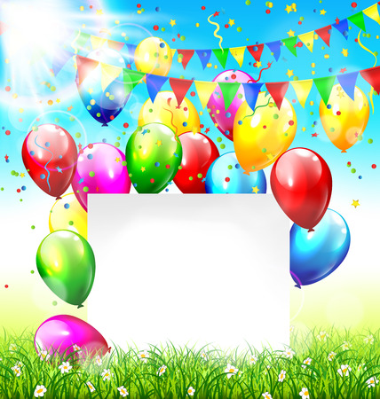 greet card: Celebration background with paper frame buntings balloons grass lawn confetti and sunlight on sky background