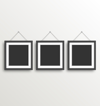 grayscale background: Three Black Simple Modern Blank Frames on Grayscale background