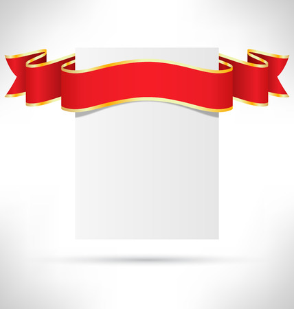 ribbon: Celebration Paper Card with Bright Festive Curved Ribbon on Grayscale Background Stock Photo