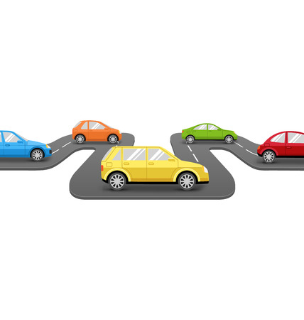 tarmac: Multicolored Cars on Road. Perspective Transport Background