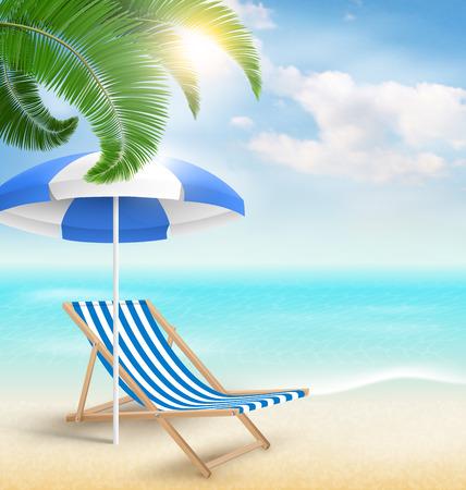 パーム雲太陽ビーチ パラソルとビーチ椅子とビーチ。夏の休暇の背景 写真素材