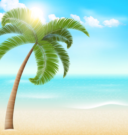 greet card: Beach with palm and clouds. Summer vacation holiday background