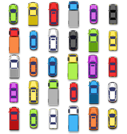highway traffic: Multicolored car collection with shadow isolated on white background