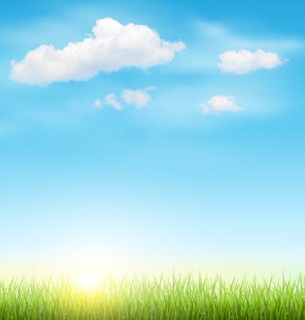 Green Grass Lawn avec des nuages ??et du Soleil sur Light Blue Sky