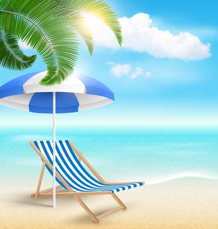 sun beach: Beach with Palm Clouds Sun Beach Umbrella and Beach Chair. Summer Vacation Background
