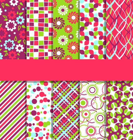 Ensemble de 10 Patterns Fun Seamless brillant Résumé